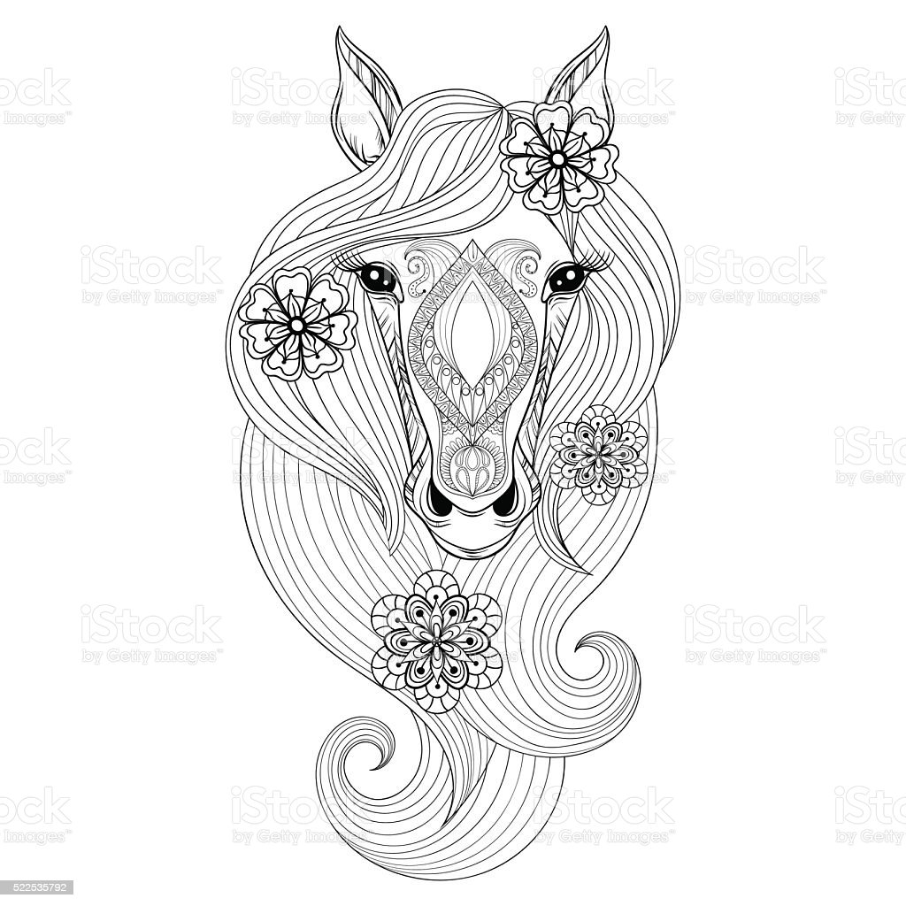 vector horse coloring page with horse face hand drawn patterne vector id