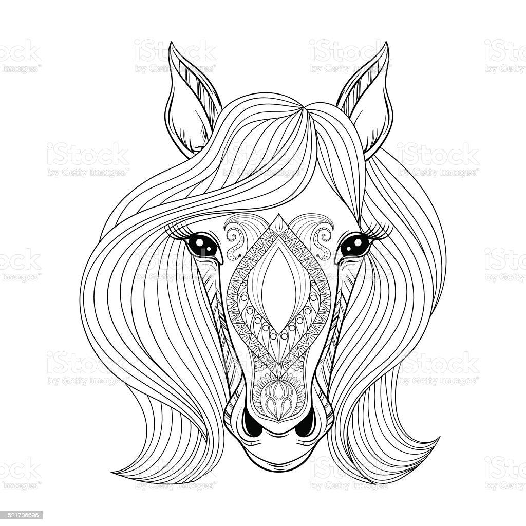 Vector De Caballo Página Para Colorear Con Caballo Zentangled Cara ...