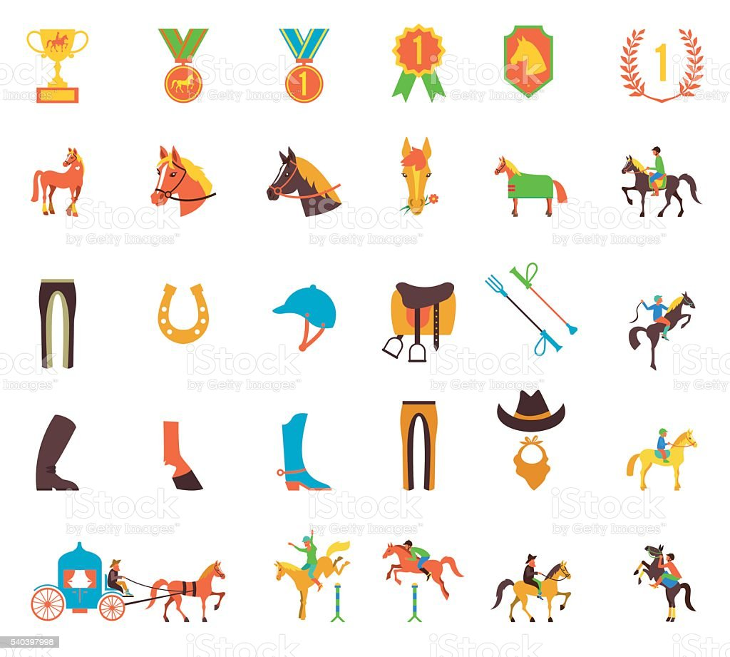 Vector Horse icons set vector art illustration