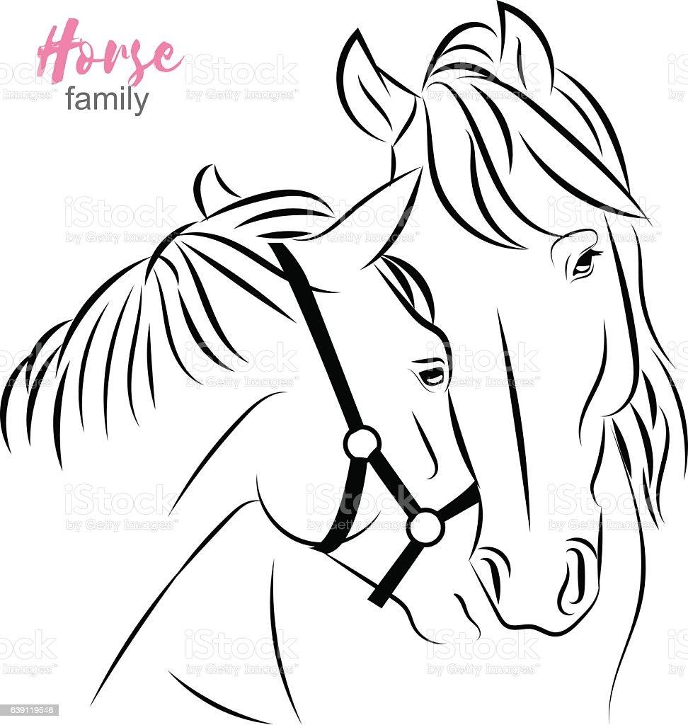 Vector Horses Closeup Sketch Horse Expresses Care To ...