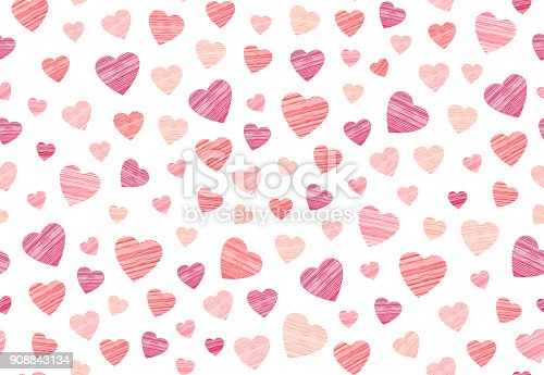 istock Vector hosiery heart seamless pattern in embroidery design on the white background. 908843134