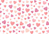 Vector hosiery heart seamless pattern in embroidery design on the white background.