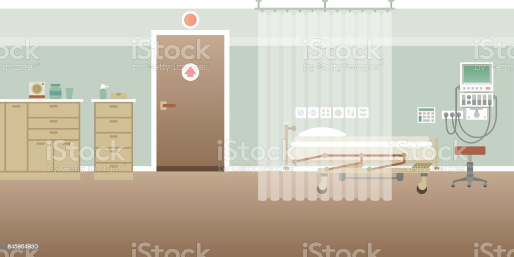 Vector hospital personal medical ward interior empty scene in flat style vector art illustration