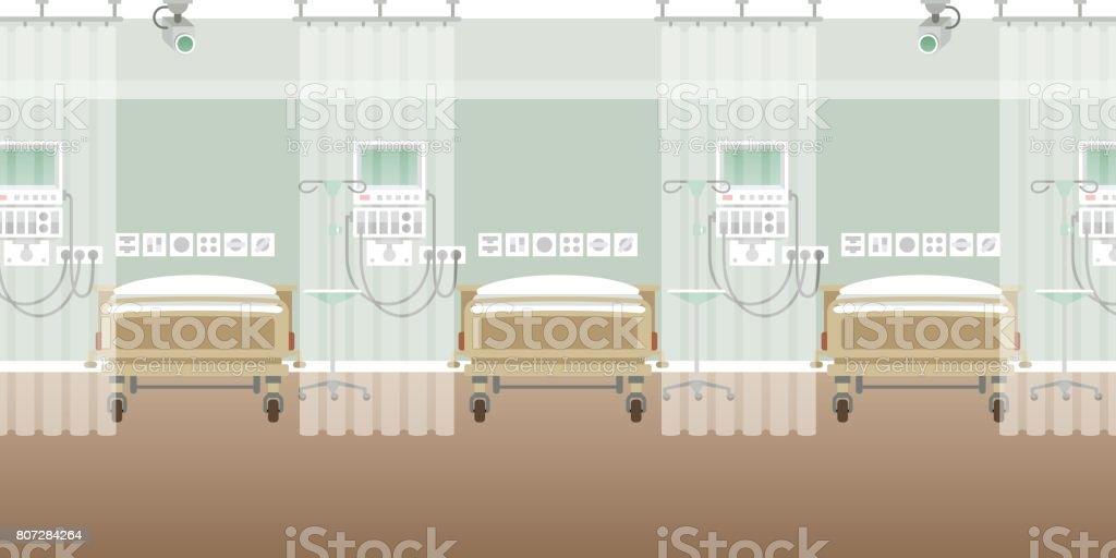 Vector hospital ward interior empty scene in flat style vector art illustration