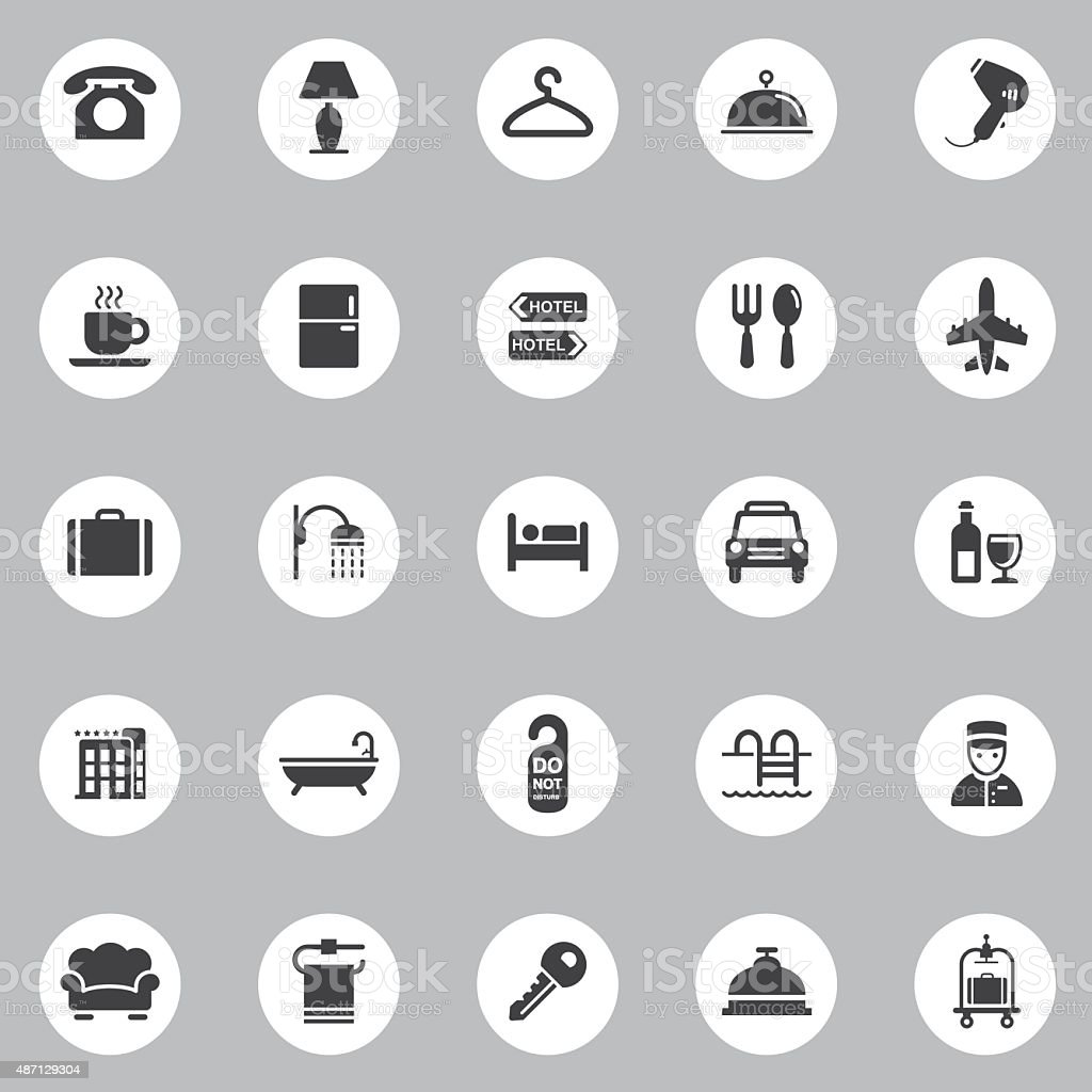 Vector Hotel Icons - 25 Icons Background vector art illustration
