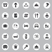 Vector Hotel Icons - 25 Icons Background