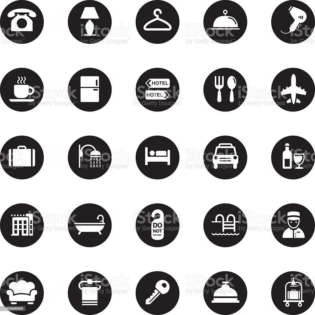 Vector Hotel Icons - 25 Icons vector art illustration