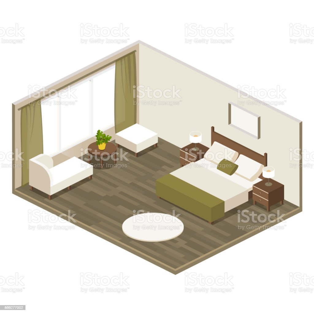 Vector Hotel room in isometric. room bedroom with a large bed for the adults, set of furniture vector art illustration