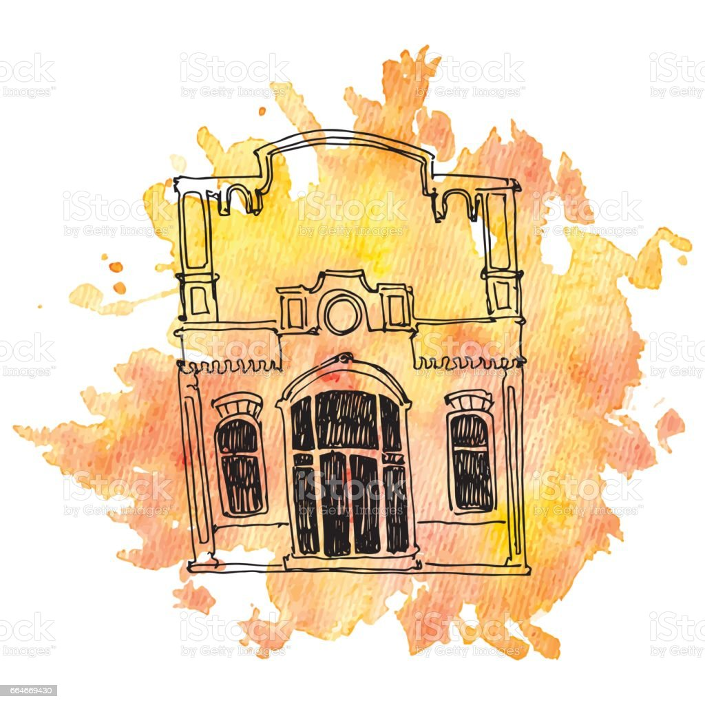 vector house at watercolor background vector art illustration