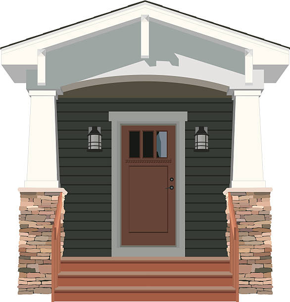 Vector House Door Front Bungalow A detailed vector illustration of a door on the front of a Bungalow style house. front stoop stock illustrations