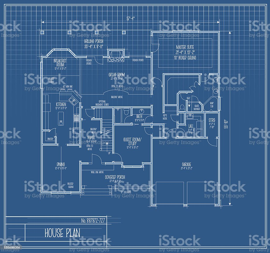 Vector house floorplan blueprint stock vector art more images of construction industry architectural feature blueprint construction worker illustration malvernweather Image collections