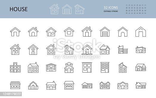 Vector house icons. Editable Stroke. The buildings are one and two-story, with a garage, a chimney. Door windows.