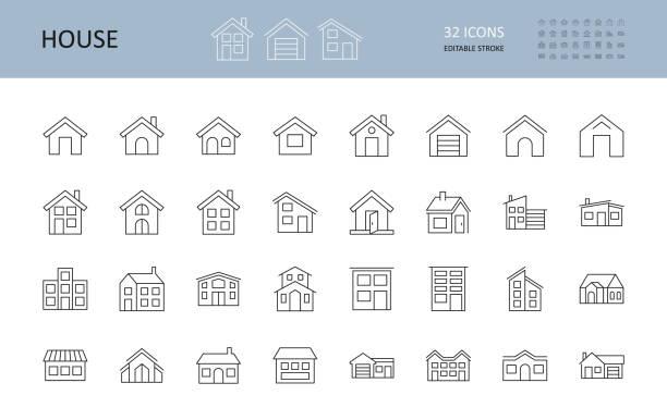 ilustrações, clipart, desenhos animados e ícones de ícones da casa vetorial. golpe editável. os prédios são de um e dois andares, com uma garagem, uma chaminé. janelas da porta - edifício residencial