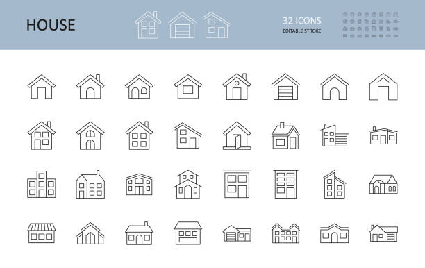 ilustrações de stock, clip art, desenhos animados e ícones de vector house icons. editable stroke. the buildings are one and two-story, with a garage, a chimney. door windows - house garage