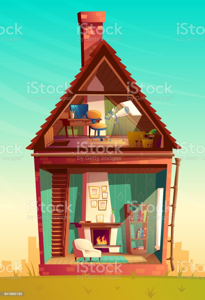 Vector house interior in section, observatory with telescope vector art illustration