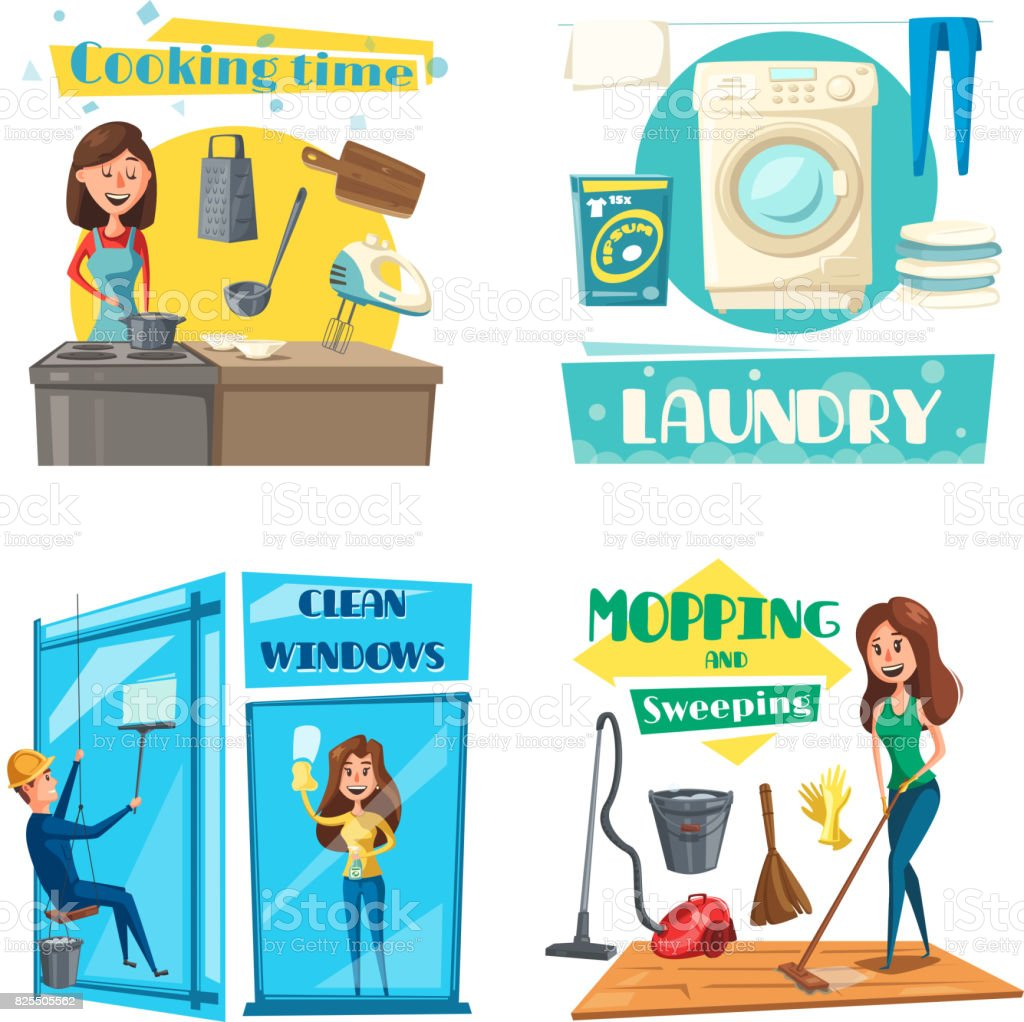 Vector House Or Room Cleaning Cooking And Laundry Stock