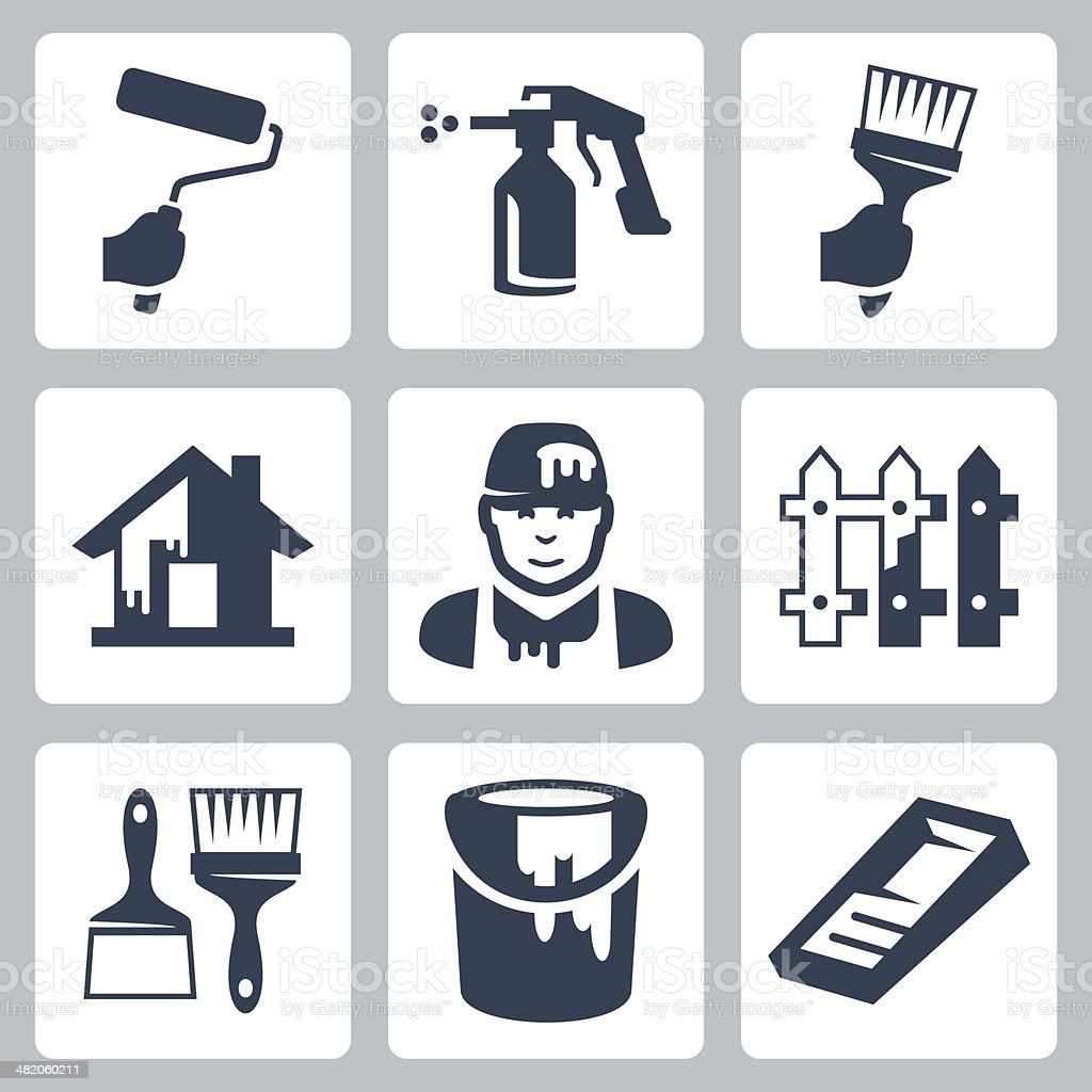Vector house painter icons set vector art illustration