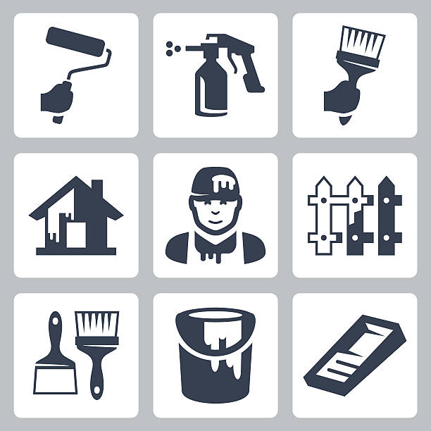 Vector house painter icons set Vector house painter icons set house painter stock illustrations