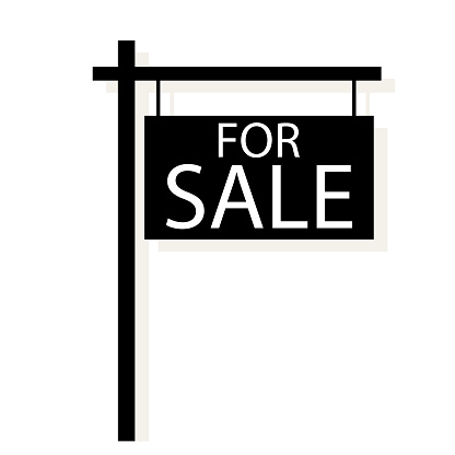 Vector house sale sign. Property sale board. Real estate agent icon. Stock image. EPS 10.