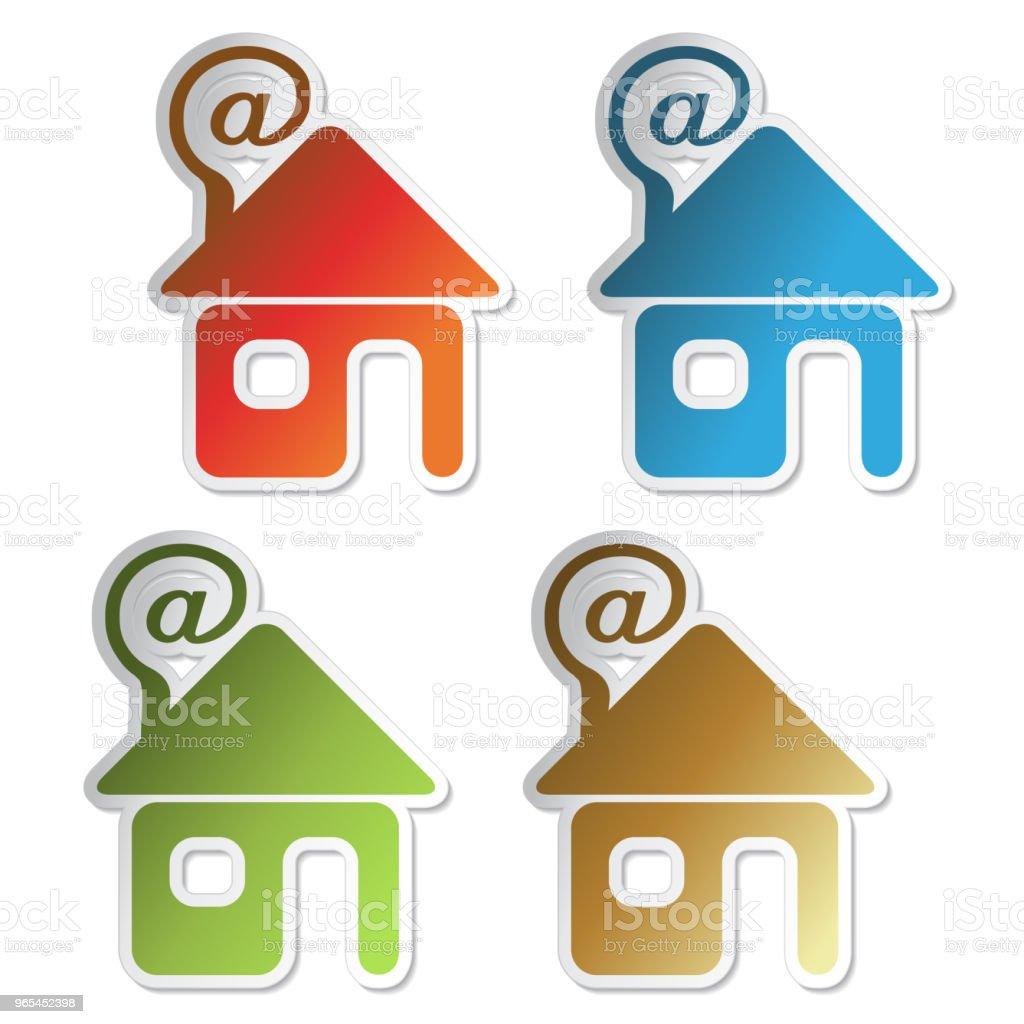 Vector house sticker, symbol of home for home e-mail vector house sticker symbol of home for home email - stockowe grafiki wektorowe i więcej obrazów bez ludzi royalty-free