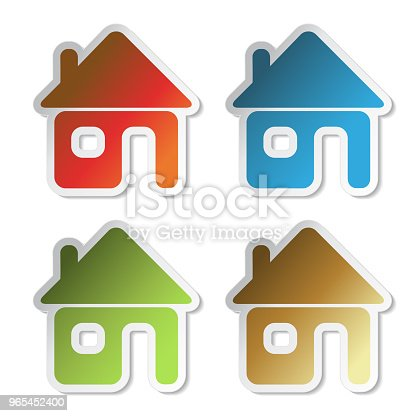 Vector House Sticker Symbol Of Home For Home Email Stock Vector Art & More Images of Adhesive Note 965452400