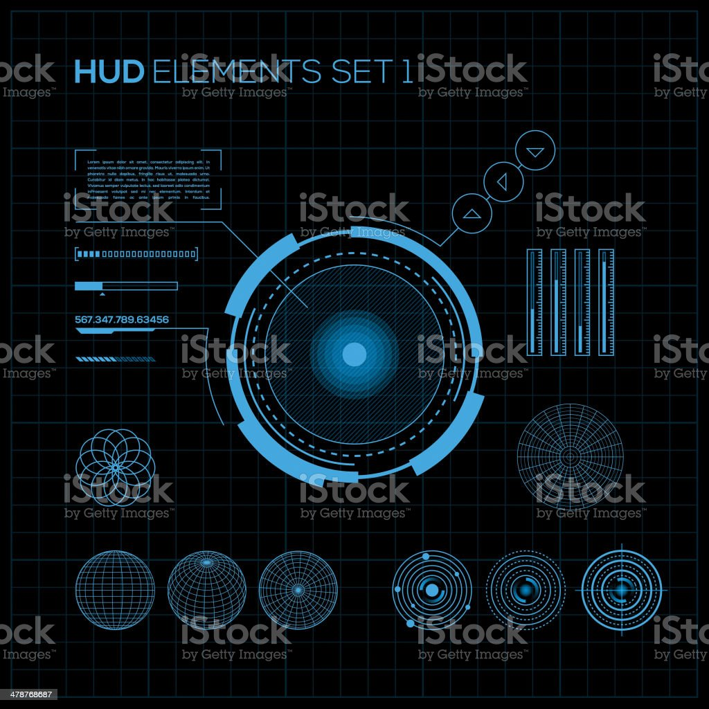 Vector HUD and GUI set with futuristic interface vector art illustration
