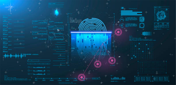 Vector HUD Elements Set for Futuristic User Interface Abstract digital conceptual technology security interface Vector HUD Elements Set for Futuristic User Interface Abstract digital conceptual technology security interface background and finger print scanning biometrics stock illustrations
