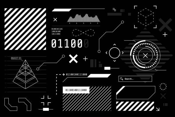 vector hud grafik im futuristischen stil. high-tech-schnittstellenelemente für ihr design. digitaler touchscreen. sci-fi-benutzeroberflächen-generator-sammlung. schwarz und weiß farben. vektor-illustration. - designelement stock-grafiken, -clipart, -cartoons und -symbole