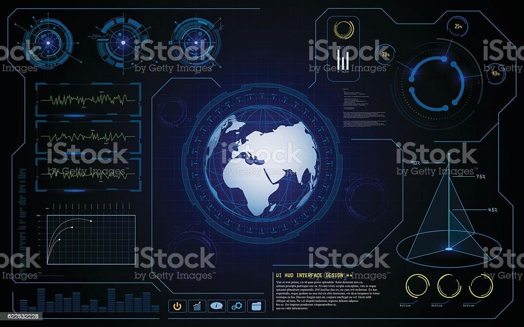 vector hud ui interface cyber global tech innovative concept background vector art illustration
