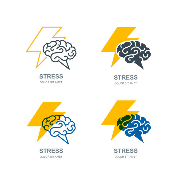 Vector human brain and lightning sign. Stress concept. Brainstorming and creativity isolated illustration. Vector set of human brain and lightning sign, or emblem design. Stress, headache and nervous concept. Brainstorming and creativity isolated illustration. headache stock illustrations