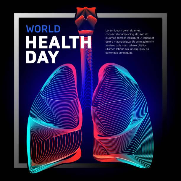 stockillustraties, clipart, cartoons en iconen met vector menselijke bronchiën longen anatomie structuur met abstracte 3d geometrie lijnen en gradiënt golven kunst om astma wereld tuberculose gezondheid dag of geneeskunde ademhalingssysteem orgel op donkere achtergrond - longen