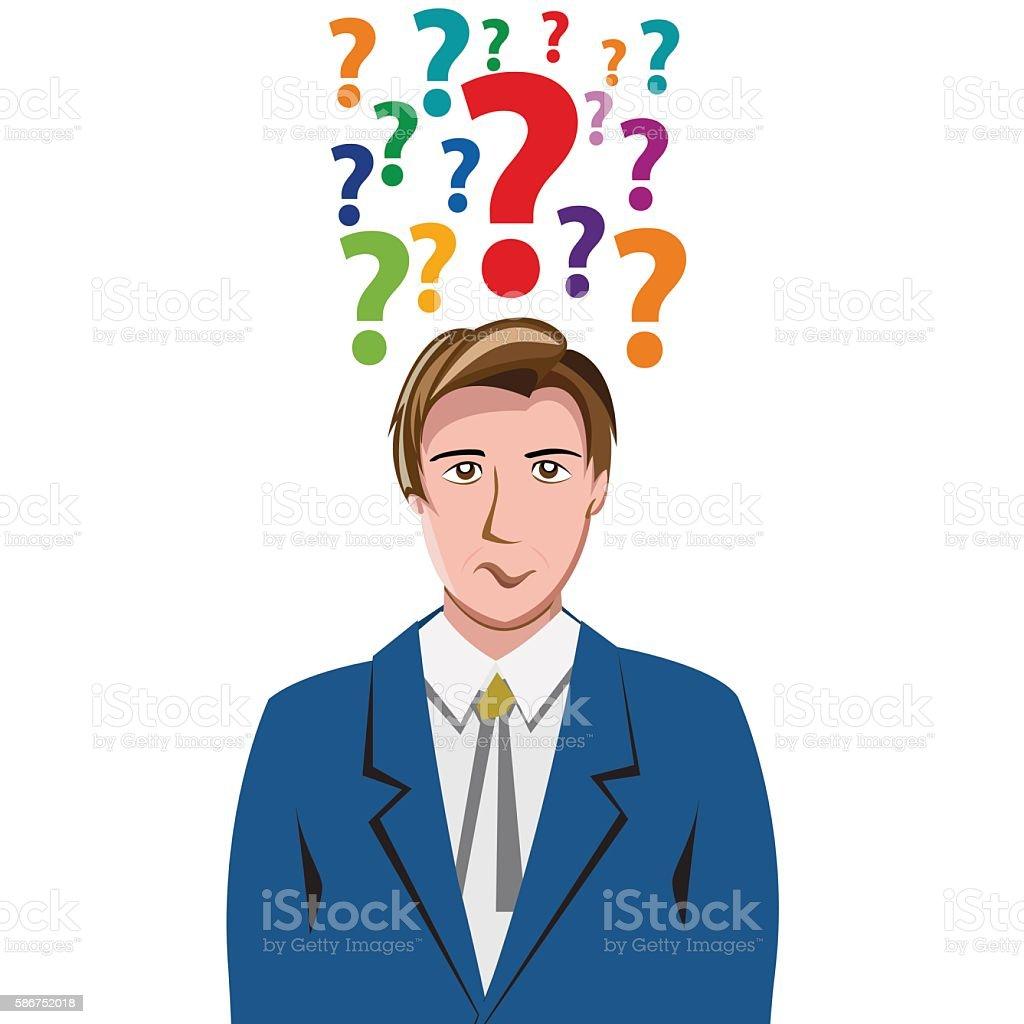 Vector Human Doubt, question mark in the head vector art illustration