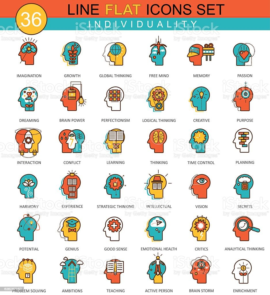 Vector Human personality and individuality features flat line icon set – Vektorgrafik