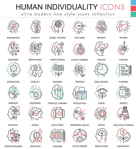 vector human personality and mentality ultra modern color outline line - achtsamkeit stock-grafiken, -clipart, -cartoons und -symbole