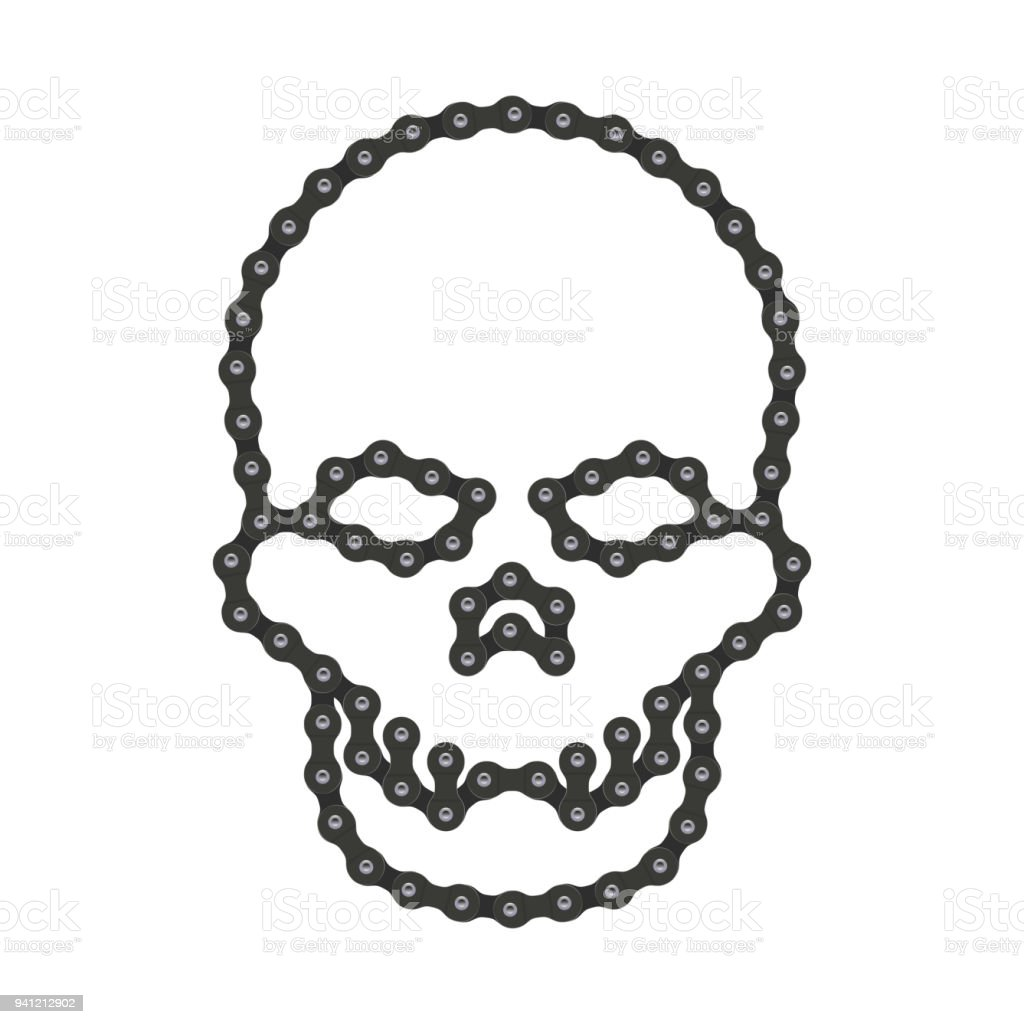 vector human skull made of bike or bicycle chain vector cranium or rh istockphoto com bike chain circle vector bike chain circle vector