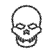 Vector Human Skull Made of Bike or Bicycle Chain. Vector Cranium or Death's Head Symbol. Black Monochrome Bike Chain Skull for Graphic Design, Web Banner, Social Media, UI, Mobile App, T-Shirt Print.
