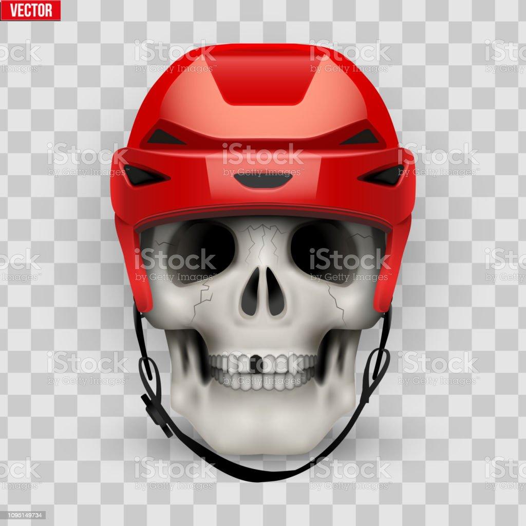 Vektor Menschlicher Schädel Mit Eishockey Helm Stock Vektor
