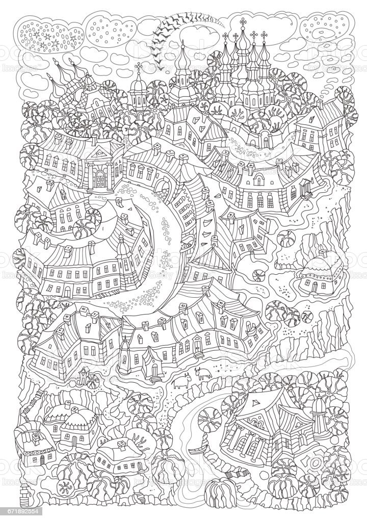 Vector humorous black and white outline contoured fantasy landscape, trees, fairy small town buildings, street, church and garden on a white background. T shirt print. Adults and children Coloring Book page, Black and white poster, album cover vector art illustration