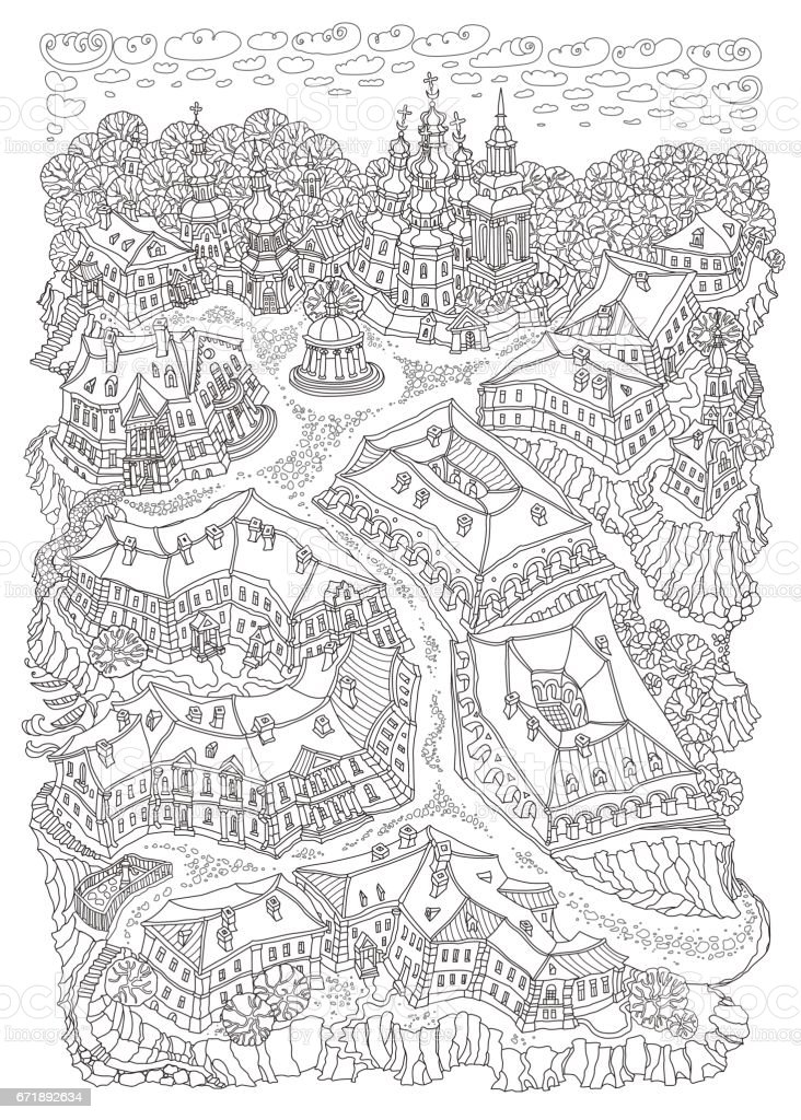 Coloring Adult Elephant Patterns additionally Stock Vector Fantasy Landscape Fairy Tale Castle On A Hill Fantastic Mountain Clouds Pine Trees Sea Wave likewise Christmas Tree Coloring Pages For Adults besides Longleaf Pine Coloring Page as well Tsvetochki V Gorshochke. on landscape coloring pages for adults