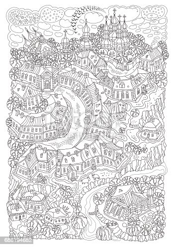 Vector humorous black and white outline contoured fantasy landscape, trees, fairy small town buildings, street, church and garden on a white background. T shirt print. Adults and children Coloring Book page