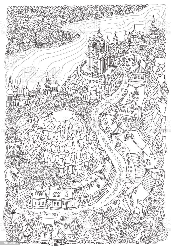 Vector humorous black and white outline contoured fantasy landscape, trees, fairy small town buildings, street, church and garden on a white background. T shirt print. Adults and children Coloring Book page vector art illustration