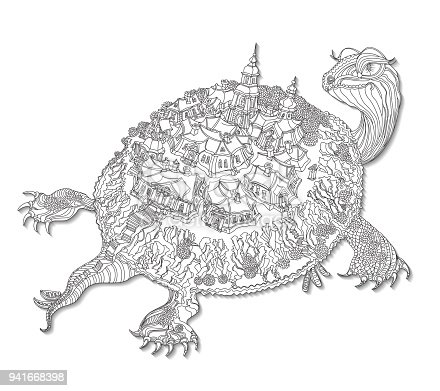Vector humorous black and white outline contoured fantasy turtle silhouette with fairy landscape, trees, small town buildings and boats on a white background. T shirt print. Adults Coloring Book page