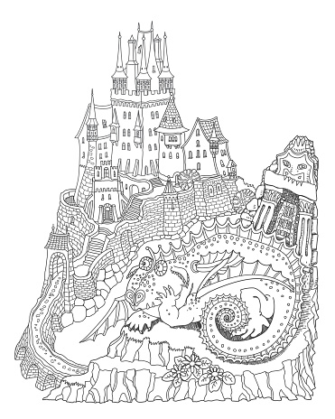 Vector humorous cartoon fairy tale landscape with medieval castle funny fat dragon. Hand drawn black and white doodle sketch. Tee shirt fantasy print. Adults and children coloring book page
