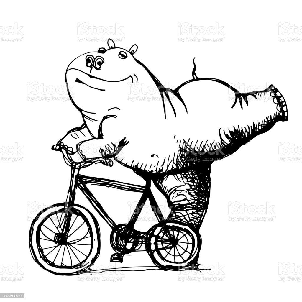 Vector De Dibujo De Historieta Humorística Hippo Dibujado A Mano ...