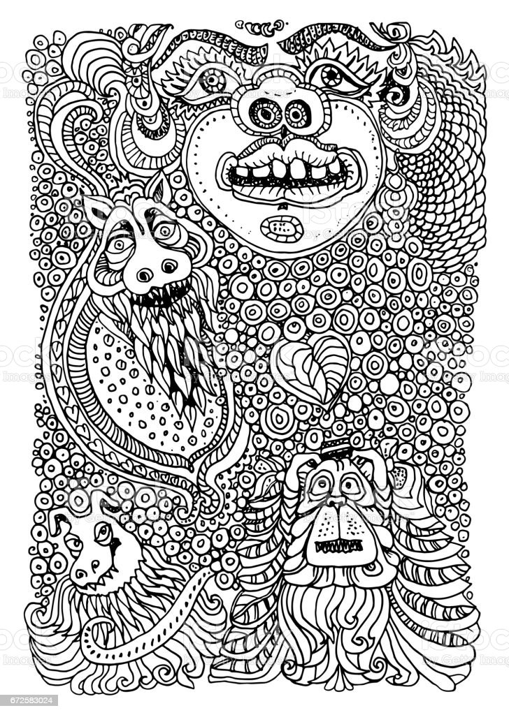 Vector Humorous Illustration Of Crazy Dogs And Monsters Black White Doodle Drawing Auto