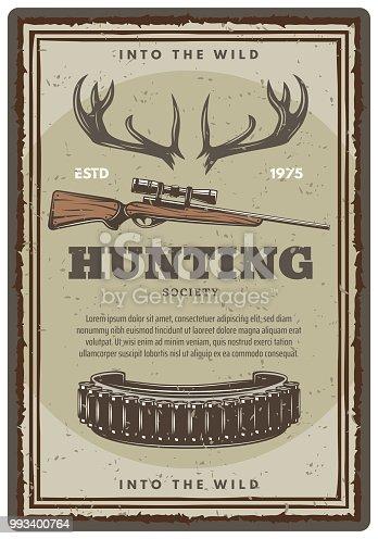 istock Vector hunting club open season sketch poster 993400764