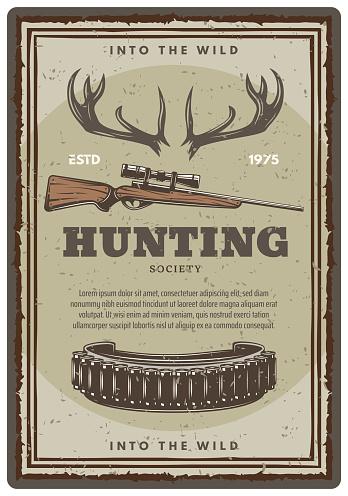 Vector hunting club open season sketch poster