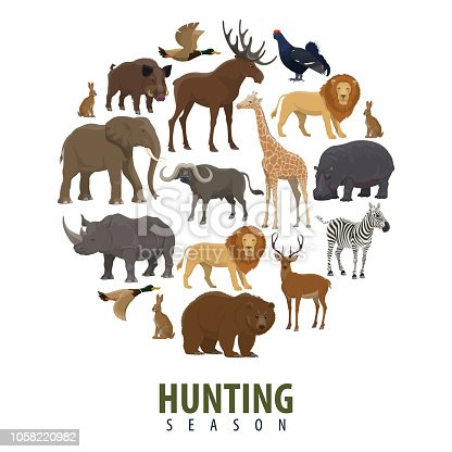 Vector hunting season poster of wild animals