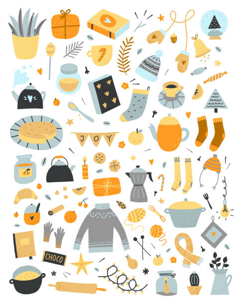 ilustrações de stock, clip art, desenhos animados e ícones de vector hygge elements set on white background. cute scandinavian lifestyle cozy objects for home and winter holidays celebration. big doodle collection with interior symbols and kitchen equipment - christmas cooking