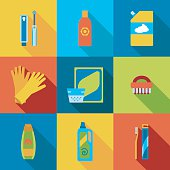 Vector hygiene and cleaning products flat icons.